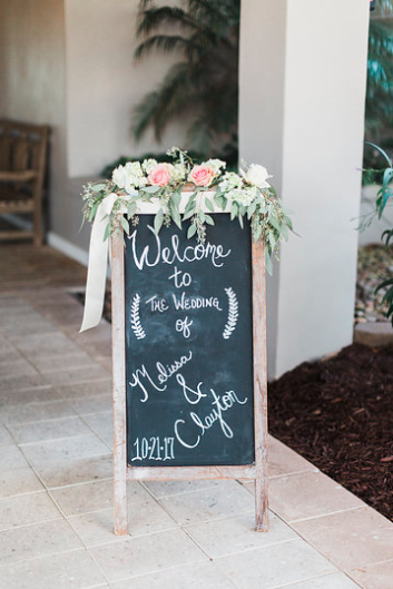 Cafe chalkboard arrangement